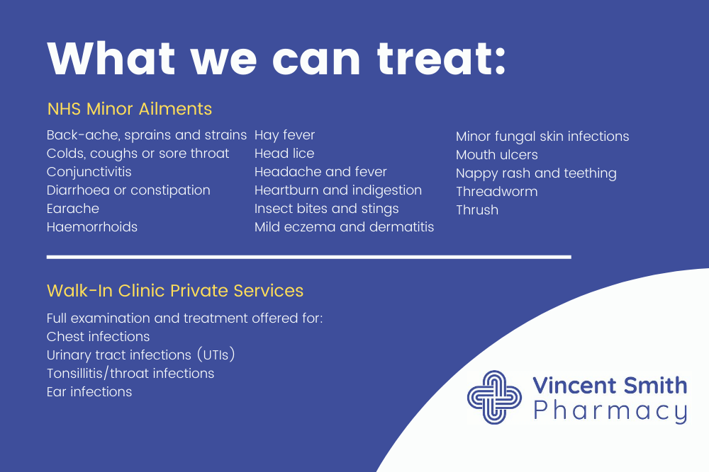 NHS Minor Ailments Service What we can treat Vincent Price Pharmacy Eccles
